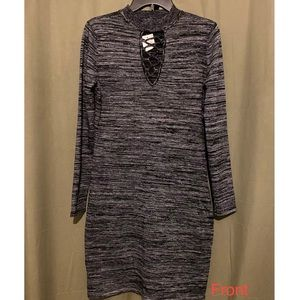 Gray black sweater dress